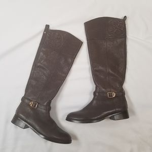 Tory Burch Marlene Riding Brown Leather Boots